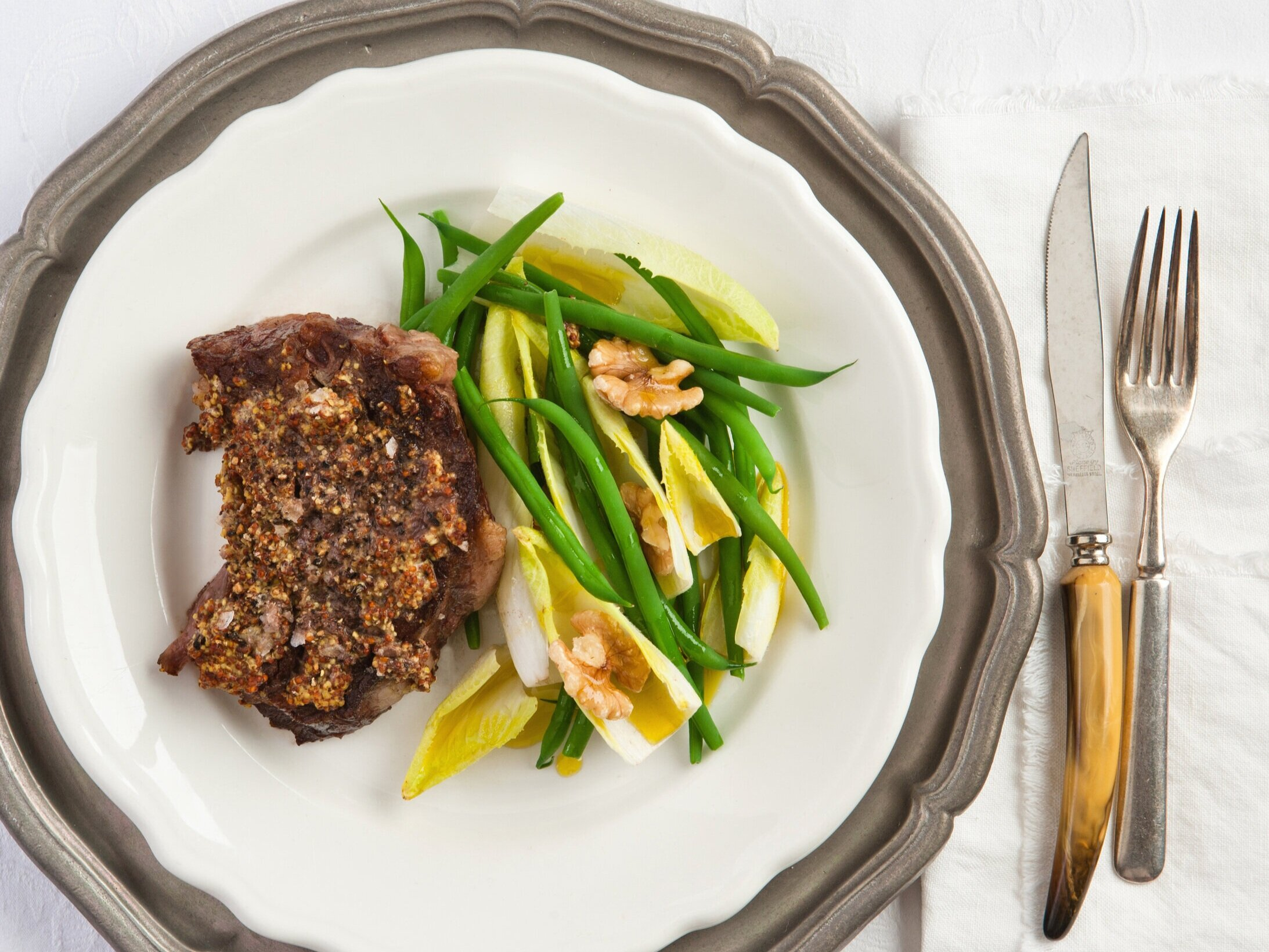 Pan-fried sirloin steak with green beans, endive and walnuts.jpg