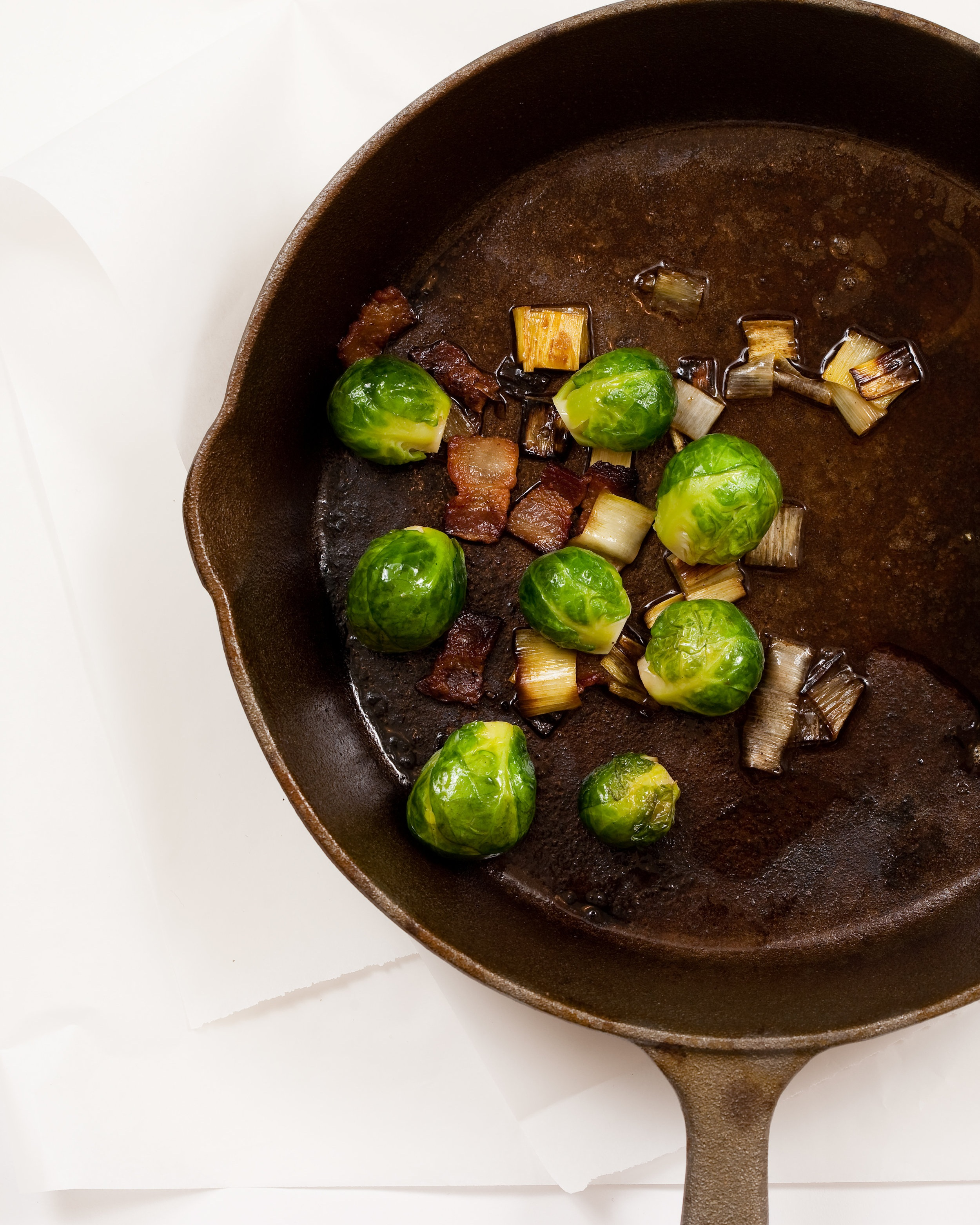 Brussels sprouts with bacon and leek