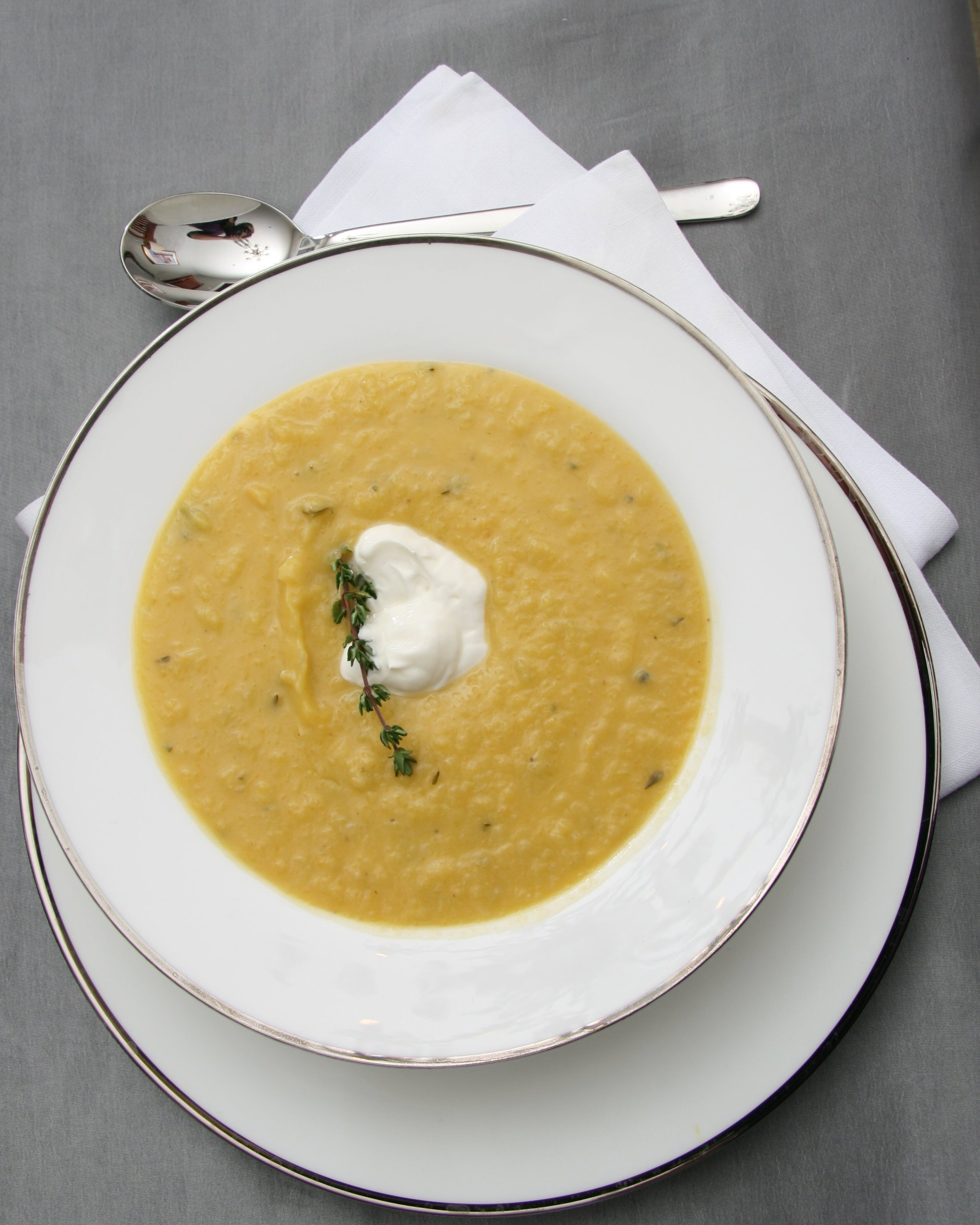 Roasted butternut squash and pear soup with crème fraiche.JPG