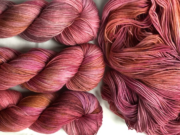 """ Zinnia "" by Olann Gra Hand Dyed Yarns. Available in many different weights. Visit the shop at olanngra.com to learn more."
