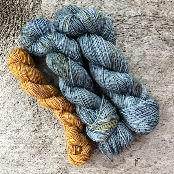 """ Wrangler Blue "" by Olann Gra Hand Dyed Yarns. Available in many different weights. Visit the shop at olanngra.com to learn more."