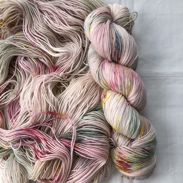""" April in Paris "" by Olann Gra Hand Dyed Yarns. Available in many different weights. Visit the shop at olanngra.com to learn more."
