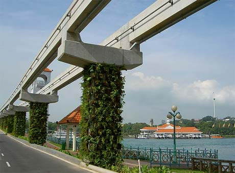 Beautiful HyRail beams and pylons can be trucked in and placed in the median of Santa Monica & San Vicente Bl.