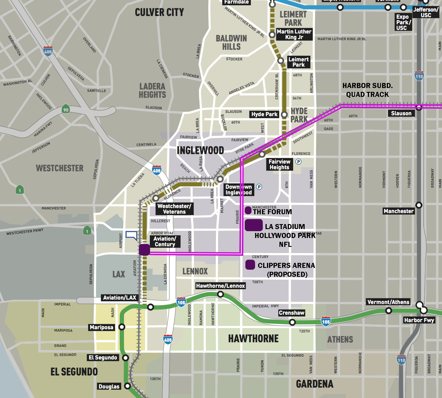 HARBOR SUBDIVISION - harbor subdivision (lax/inglewood to dtla)Creating a brand new line out of thin air to serve LAX, the Inglewood Sports & Entertainment District, South LA, and Downtown Los AngelesCurrent Allotment: $0Est. HyRail Cost: $3 BillionLearn More...