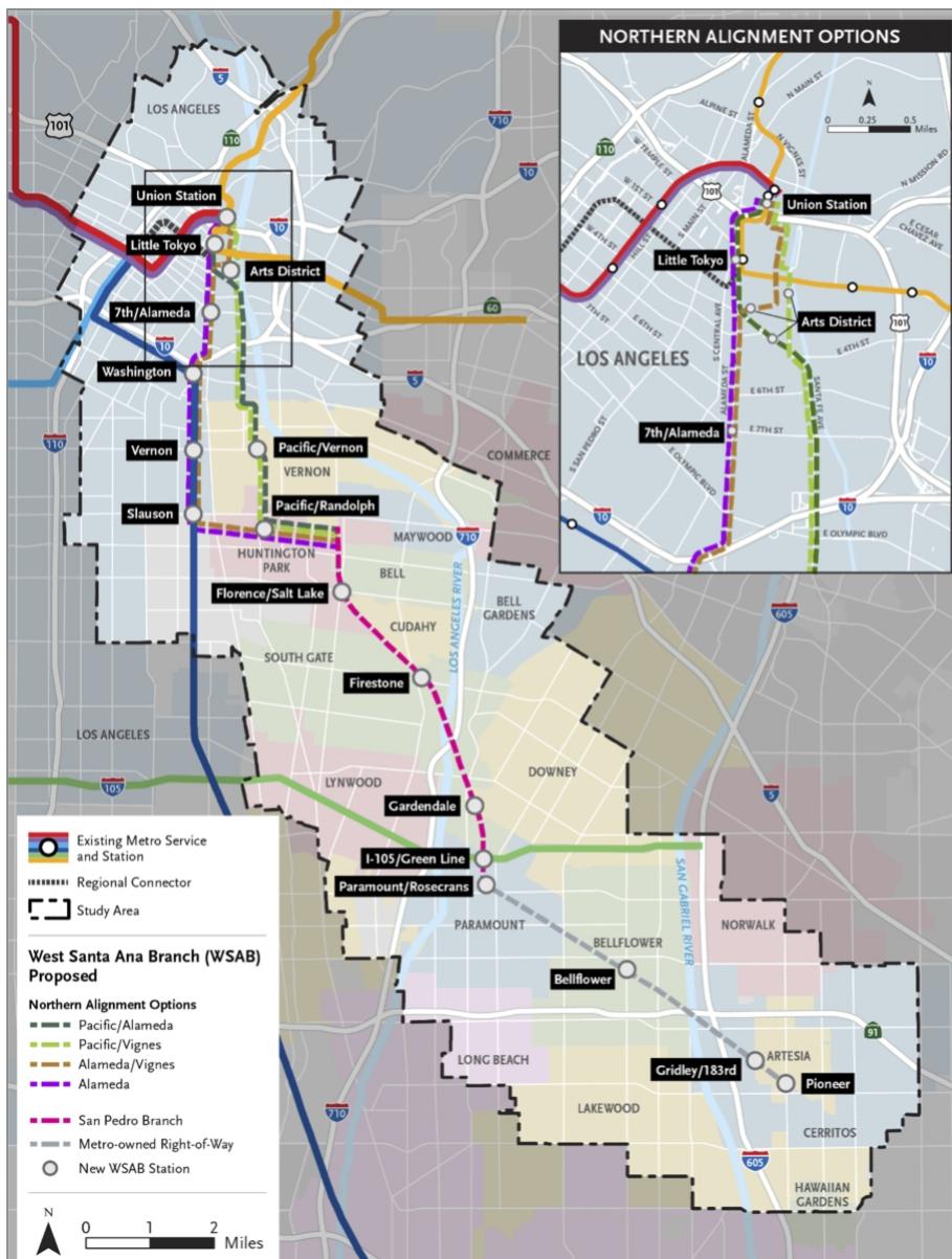 WEST SANTA ANA BRANCH - West santa ana branch (artesia to dtla)Rail from Artesia/OC border to Downtown Los Angeles.Current Allotment: $4 BillionUpdated Est. Cost: $5 BillionEst. HyRail Cost: $4 BilllionSavings: $1 BillionLearn More...