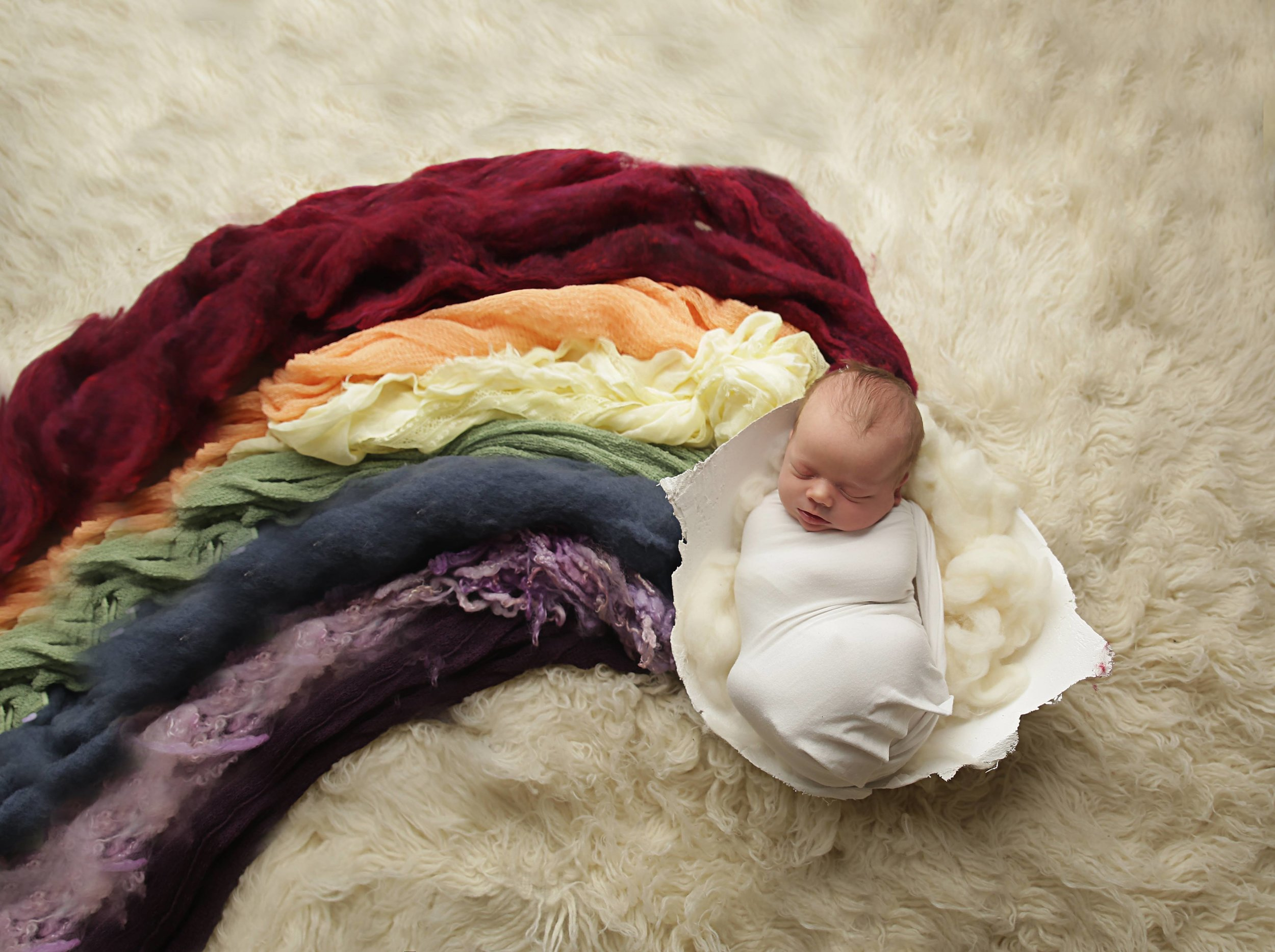 rainbow baby newborn photo with belly cast