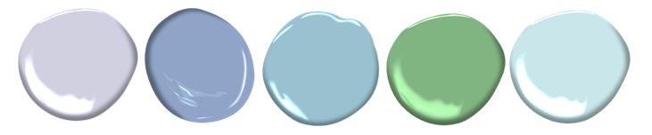 Paint colours (all Benjamin Moore): Lavender Mist, Pressed Violet, Daydream, Cedar Green, Crystal Springs