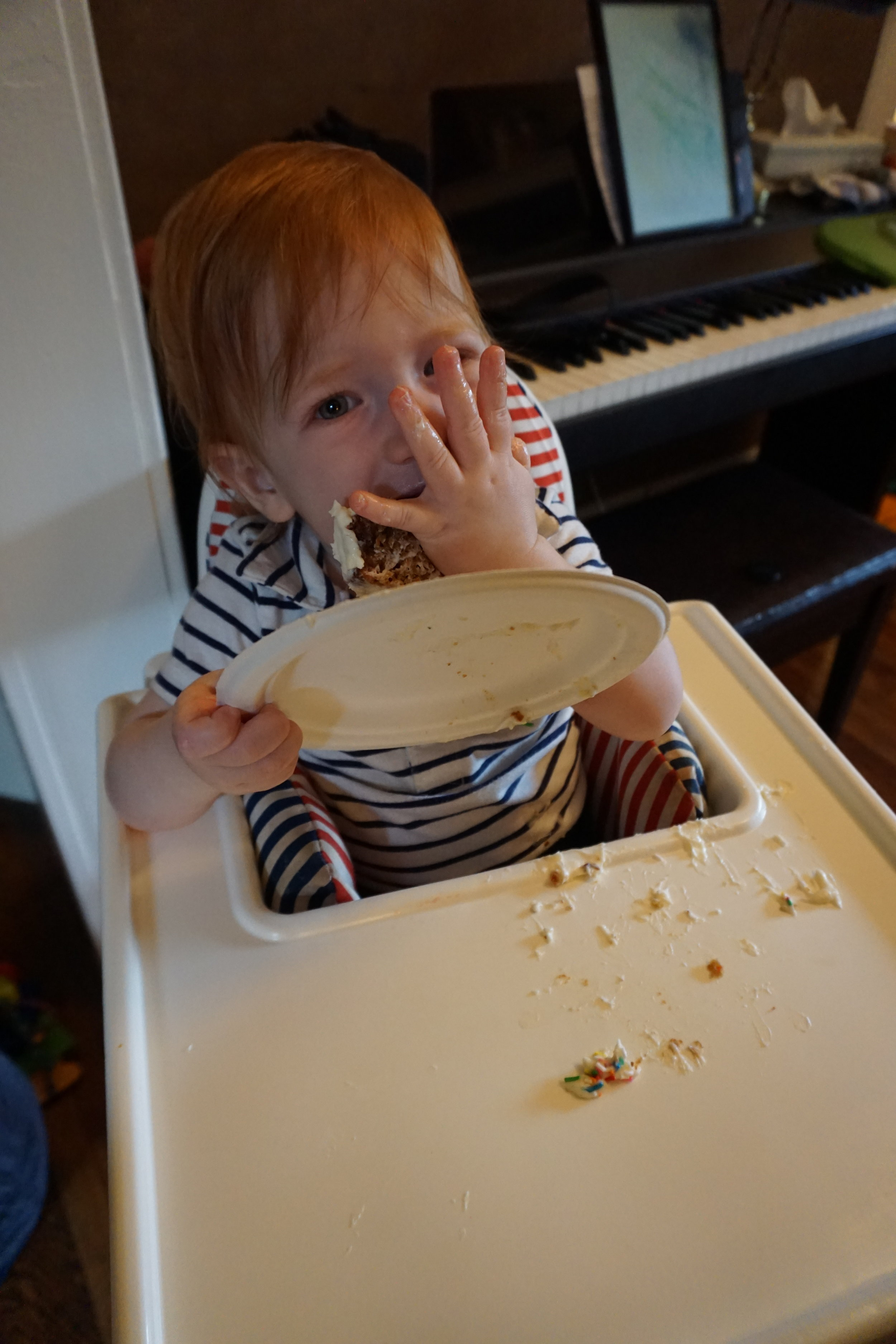 Daddy made carrot cake with maple cream cheese frosting. You made…a mess.
