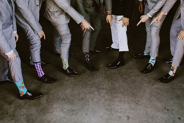 This is such a unique idea for your groomsmen! Everyone wearing their favorite socks adds a special touch to the day.  Which sock is your favorite?!