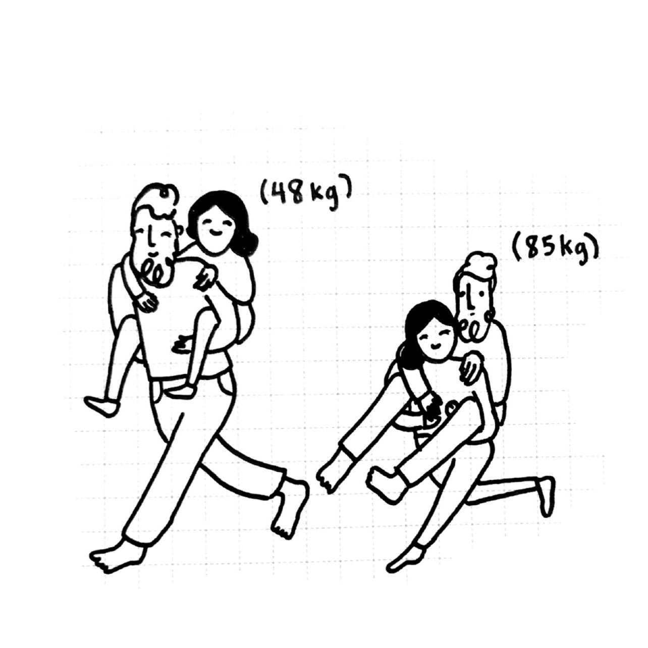 Piggybacks: being small enough to get one and/or strong enough to give one