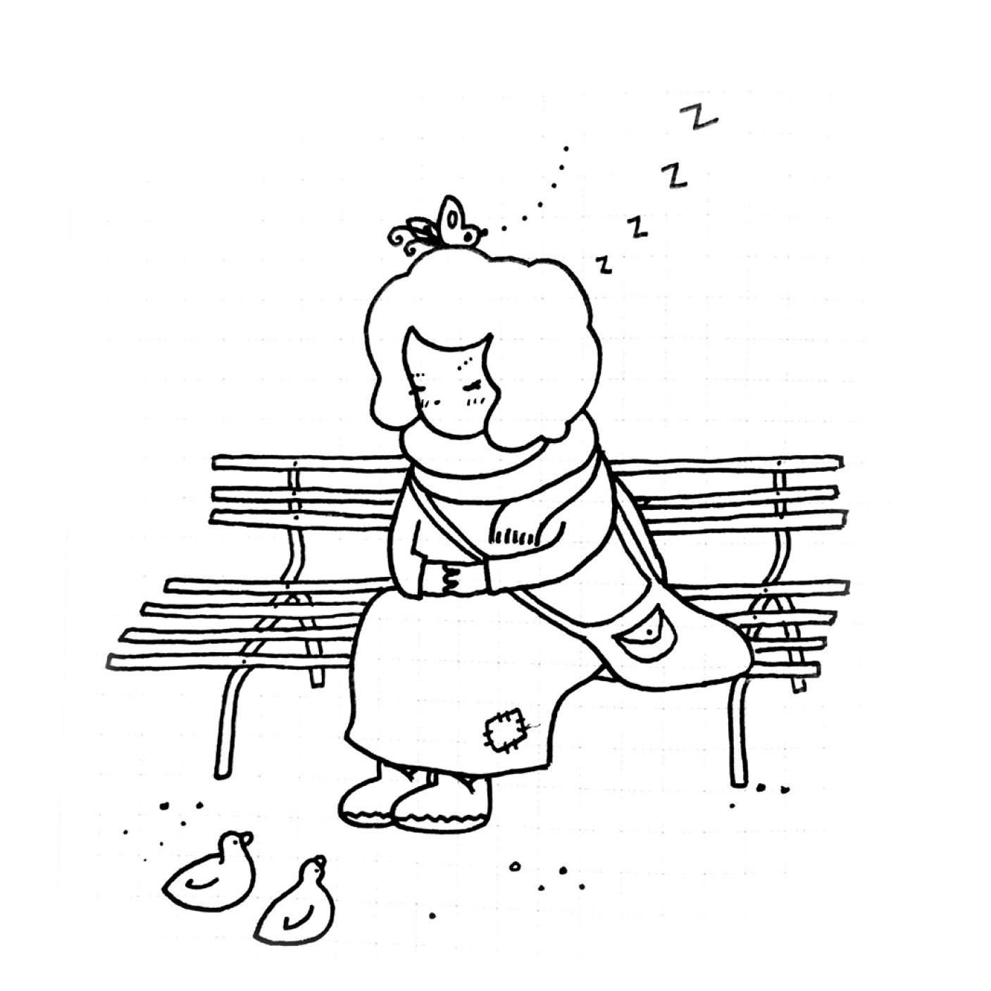 Falling asleep on park benches