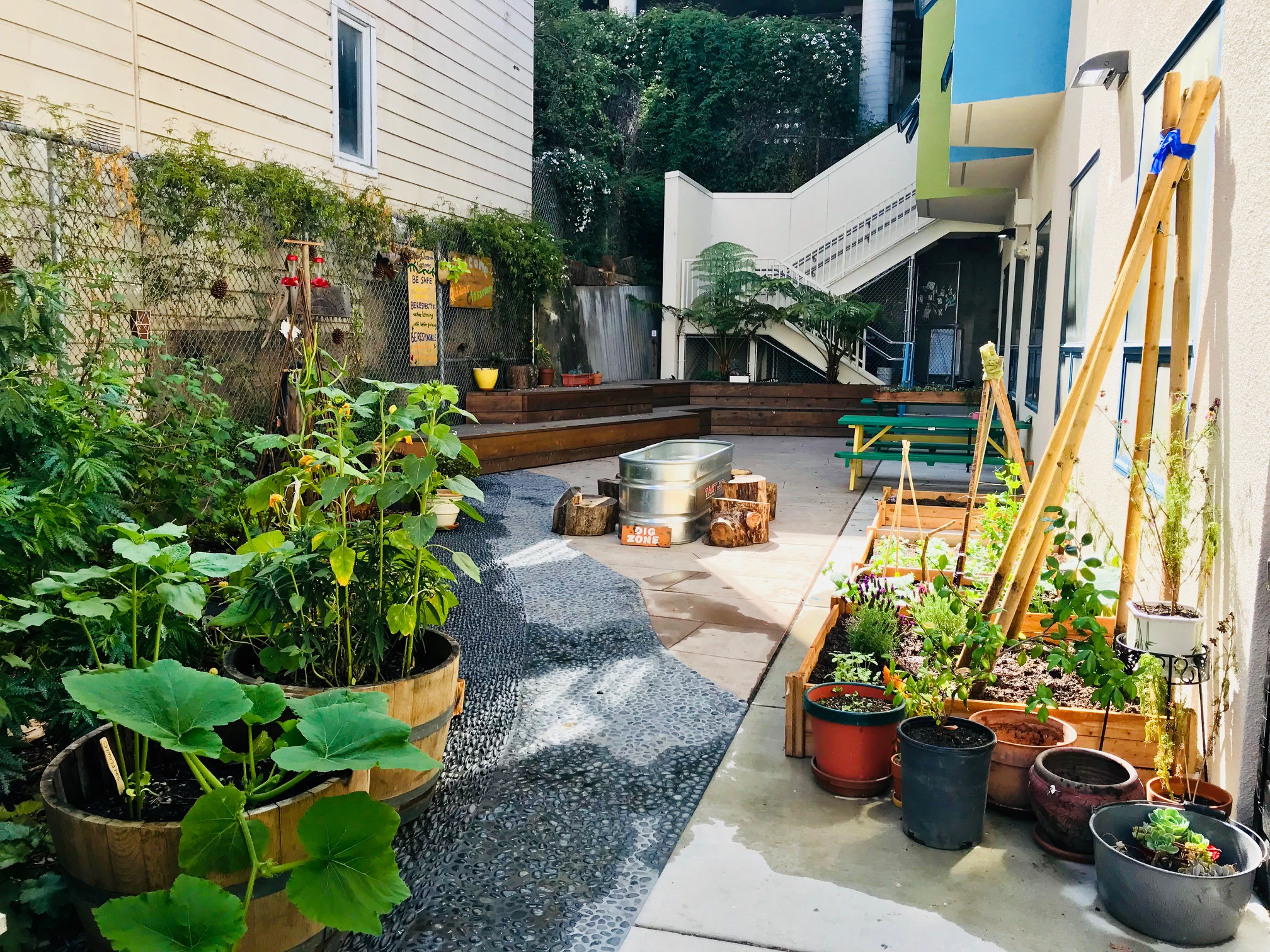 Our Outdoor Classroom contains a Dig Zone, hummingbird feeders, vegetable and flower beds, and picnic tables for doing projects and eating together. We hope to add a rain barrel this year.