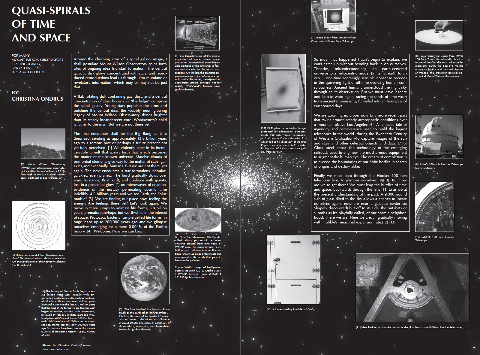 Full-spread publication essay for  KNOWLEDGES at Mount Wilson Observatory , 2017.