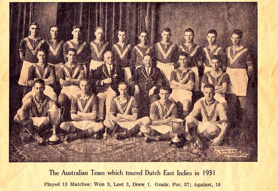 Australians on Tour 1931 - GOALKEEPERS-W.ROACH (SA),J.HARPER (NSW)FULLBACKS-W.OLIVER (QLD),C.WEIR (VIC) - GOALS 1,J.ROE (SA) - GOALS 1HALFBACKS-C.O'CONNOR (NSW),R.TELFAR (SA),R.BUCHANAN (QLD),J.MARTIN (QLD) - GOALS 2,G.SEMPLE (VIC)F.MCIVER (VIC) - GOALS 2FORWARDs-H.MUIR (NSW) - GOALS 4,G.RUSSELL (NSW) - GOALS 5,R.JAMES (QLD) - GOALS 7,L.CLARKE (QLD) - GOALS 5,J.DONALDSON (QLD) - GOALS 1,P.LEWIS (VIC) - GOALS 7,J.JOHNSTONE (VIC) - GOALS1,G.HUNTER (SA)