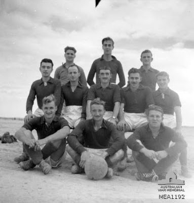 El Daba, Egypt. c. December 1943. A group portrait of No. 451 (Spitfire) Squadron RAAF, soccer team. The squadron, in its long service overseas, has made a big name for itself in the field of sport,  -