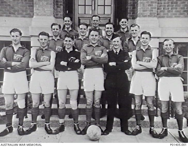 - Outdoor group portrait of the No 4 Initial Training School, RAAF soccer team. Identified in the back row from left to right: B Davis, Albert Wraith (later O33105 Wing Commander); and 416534 William Bethune (later Warrant Officer).Second back row from left to right: 416662 Charles Ernest Evans (later Flying Officer); Cecil Tasman Curran (later O30174 Flight Lieutenant); 27285 Corporal Frank Vardon (later Warrant Officer); and G Bushell.Front row from left to right: 409303 Vernon James Hedley (later Flying Officer and killed on flying operations over Germany with 460 Squadron on 16 March 1945); 408923 Sydney William John Peak (later Flying Officer); 409305 Warwick Thomas Hollings (later Flying Officer); 416594 Colin Kerr Menzies (Team Captain and later Flight Sergeant and killed on flying operations over Germany with 101 Squadron on 17 April 1943); 26704 Sergeant Albert Henry Gray (Team Coach and later Warrant Officer); H P Williams; and 409278 Frederick James Ross (later Flight Sergeant and killed on flying operations over Germany with 139 Squadron on 20 August 1943).
