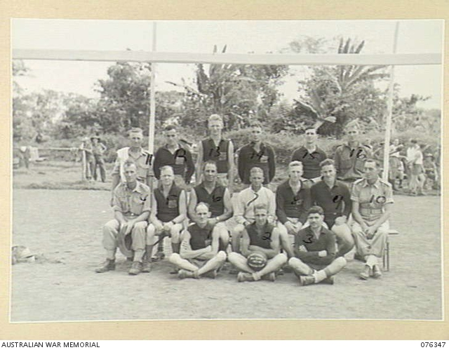 - LAE, NEW GUINEA. 1944-10-01. MEMBERS OF THE SOCCER FOOTBALL TEAM OF THE 22ND WORKS COMPANY. IDENTIFIED PERSONNEL ARE:- N436826 PRIVATE J.G. MADDISON (1); N443880 PRIVATE C.J.D. SANDERSON (2); V43978 PRIVATE J. PALAMARA (3); WX7613 SERGEANT R. THOMPSON (4); N216677 PRIVATE W.H. CRANE (5); N390772 PRIVATE G.R. MARTIN (6);NX85424 PRIVATE H.F. WILSEMITH (7); NX202389 PRIVATE J. PROCARD (8); NX140944 PRIVATE W.S. MORRIS (9); N455119 CORPORAL H.W. HEWARD (10); S7577 SERGEANT P.E.C. HAYNES (11); NX192116 PRIVATE G. ETCHES (12); N455744 PRIVATE S. WEBB (13); N151352 PRIVATE H. RODDOM (14); NX169866 PRIVATE W.R. HOROBIN (15); NX173630 CORPORAL A GRAHAM (16).
