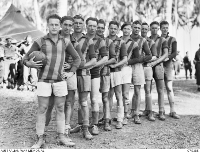 - Members of the soccer football team which is to play a team from the HMAS Manoora during the inter unit sports meeting. Identified personnel are: (left to right) QX55029 Signaller (Sig) E H Catton (front of line); QX60580 Sig C G Wedd; NX103799 Private (Pte) J A Halls; B/419 R G Scott, Australian Red Cross Society; QX25175 Warrant Officer Class 2 A Fraser; NX90718 Craftsman L Connolly; QX48005 Sergeant G S Jago; Q1258 Sig C Watson; N211492 Pte M A Hakainsson; QX42442 Sig J Clarkson; QX36379 Driver G H Sims (rear of line).