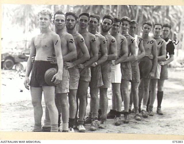 - MILILAT, NEW GUINEA. 1944-08-20. MEMBERS OF THE SOCCER FOOTBALL TEAM FROM THE HMAS