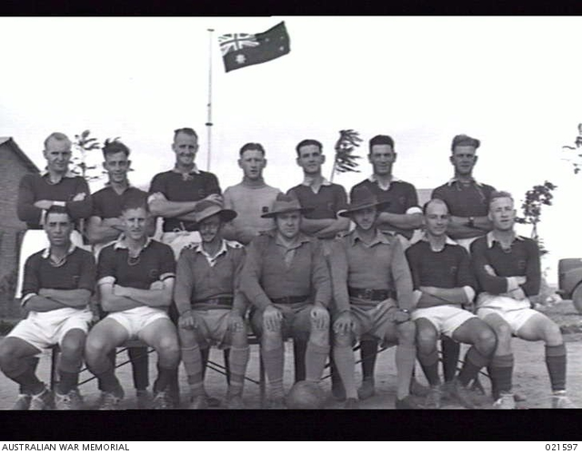 TEL EL KEBIR, EGYPT. 1941-11. THE AUSTRALIAN ARMY BASE ORDNANCE DEPOT SOCCER TEAM OF WHICH LIEUTENANT COLONEL H. S. KINGHAM IS PRESIDENT, MAJOR H. N. BIDGEN, VICE PRESIDENT AND LIEUTENANT A. MILLER, MANAGER. -