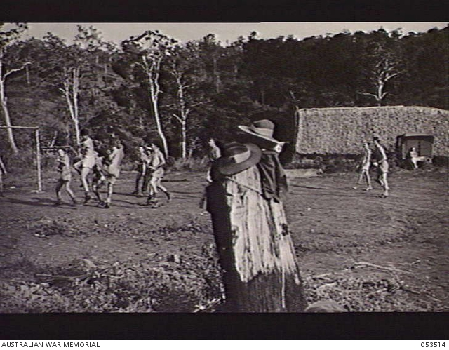 SOGERI VALLEY, NEW GUINEA, 1943-06-25. TROOPS OF THE 11TH AUSTRALIAN FIELD AMBULANCE, MAIN DRESSING STATION, PLAYING SOCCER DURING ONE OF THEIR RECREATION PERIODS. -