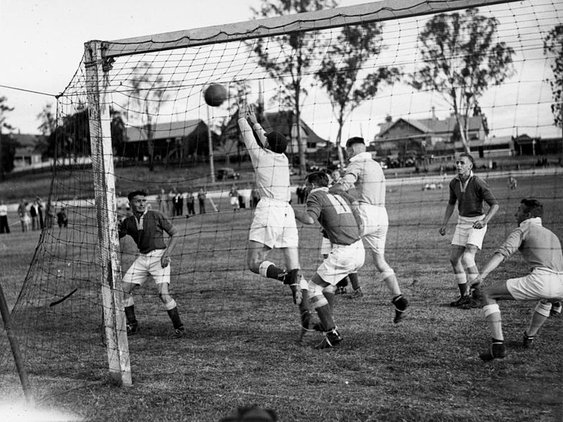 1937 soccer match at Lang Park Milton, (looking towards Milton Road) - (WIKI)