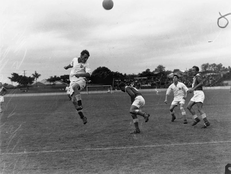 Queensland plays New South Wales in a soccer match at The 'Gabba, 1950 - (StateLibQld)