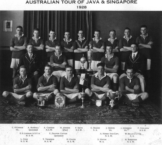 In July and August 1928, a representative side from the Australian Football Association (A.F.A.) visited the Dutch East Indies and Singapore. -