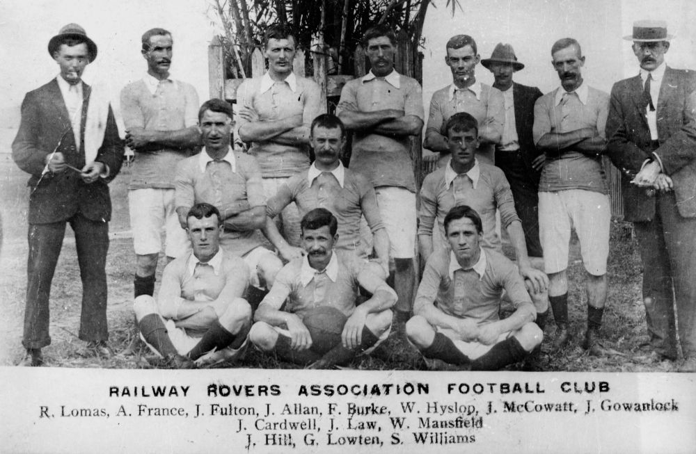 Railway Rovers Association Football Club, ca. 1912 - Back row - R. Lomas, A. France, J. Fulton, J. Allan, F. Burke, W. Hyslop, J. McCowatt, J. Gowanlock. Middle row - J. Cardwell, J. Law, W. Mansfield. Front row - J. Hill, G. Lowten, S. Williams. (Description supplied with photograph.)(StateLibQld)