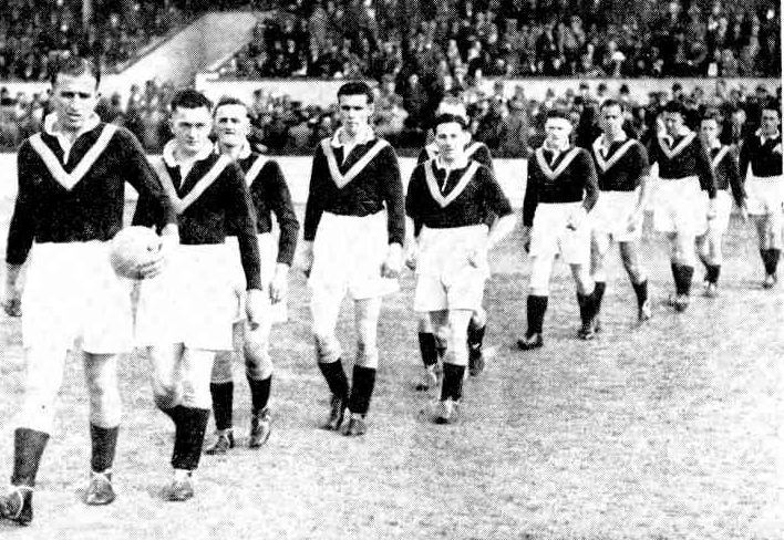 Australian captain george smith leads the team out against the England amateurs.1937 -