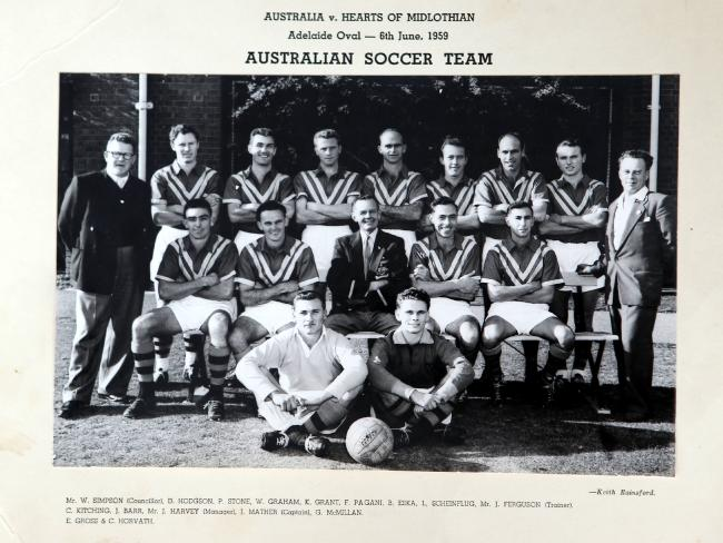 In 1959 the Australian side played five matches against the visiting Scottish club side Hearts of Midlothian. The tour was the last to take place by a visiting international team before FIFA revoked Australia's affiliation over transfer irregularities with a number of European born players. -