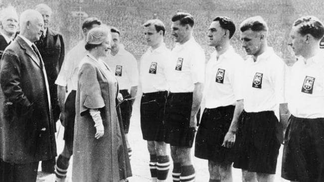 - Joe Marston, the first Australian to play professionally in the UK, being presented to the Queen Mother in 1954 at Wembley.Twelve months later, the unthinkable happened, only for the dream to end with disappointment. A late goal saw West Bromwich Albion take the prized cup with a 3-2 scoreline and Marston still bows his head in regret at narrowly failing to block the decisive goal. The Australian assumed the captaincy from Finney for the following season, which was also highlighted by selection for the England Football League XI against their Scottish counterparts at Hampden Park. It was rare recognition for a foreigner and Marston was the only non-Englishman in the line-up that day.(www.fifa.com)