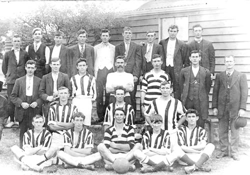 This is a team photograph of the Balgownie Rangers team in 1913. - (Bowlgownie Rangers)