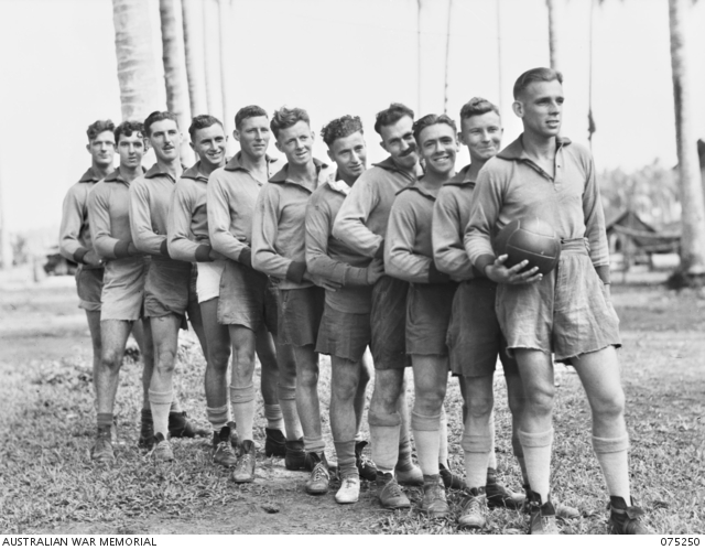 - MILILAT, NEW GUINEA. 1944-08-13. MEMBERS OF A SOCCER TEAM FROM THE 35TH INFANTRY BATTALION WHO ARE TO PLAY A TEAM FROM HEADQUARTERS, 5TH DIVISION. IDENTIFIED PERSONNEL ARE:- NX156858 PRIVATE A.S. HORSFIELD (1); NX120590 PRIVATE D. GORDON (2); NX131599 CORPORAL I. BAILEY (3); NX120718 CORPORAL D.P. BUCKERIDGE (4); NX120427 PRIVATE E. CANCIAN (5); NX120594 PRIVATE H. BRADLEY (6); NX120794 PRIVATE F.L. LOPEZ (7); NX120703 PRIVATE J.M. NEVILLE (8); NX131562 PRIVATE J. KEAN (9); NX141655 PRIVATE W.L. NEWMAN (10); Q144298 PRIVATE C.C. COWAN (11).