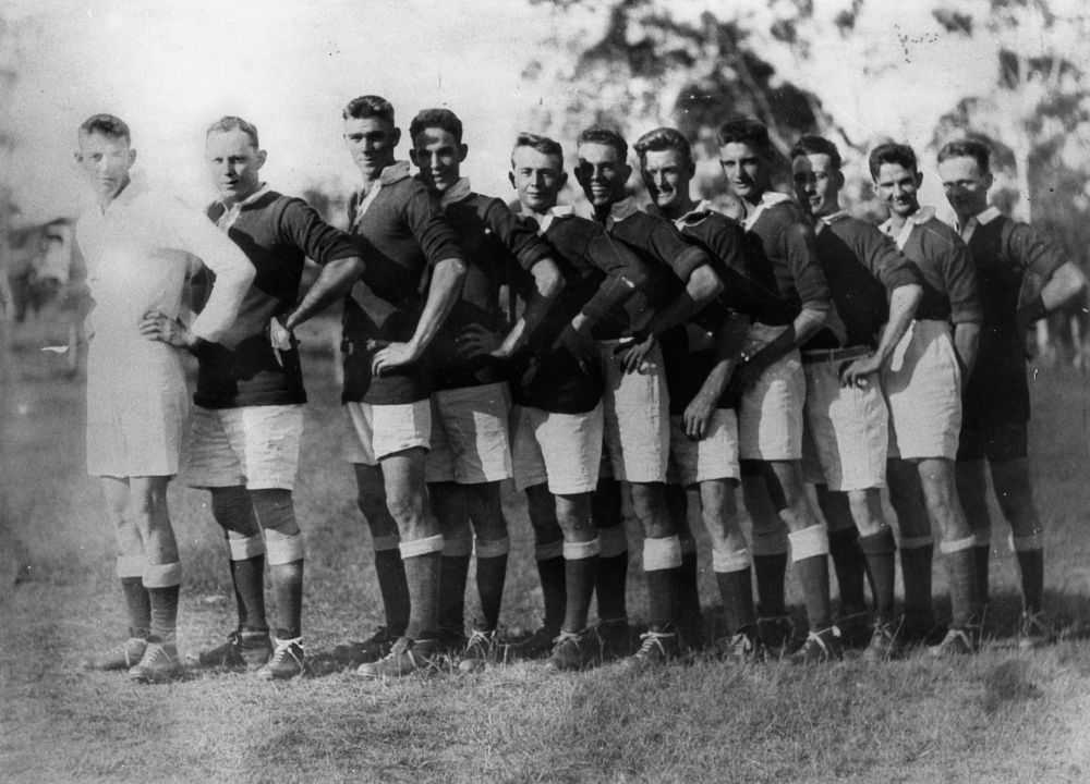 St Helen's Soccer Team from Ipswich, ca. 1930 - Players from left to right: J. Williams, E. Wilson, W. Stirling, A. Edwards, R. Skellern, R. Erskine, J. Kenny, J. Greenhill, C. McEwan, J. Henderson, A. Wilson.(StateLibQld)