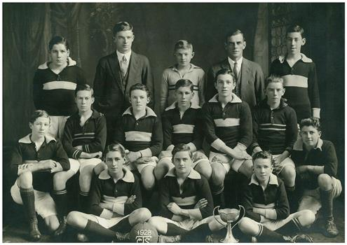 CTS Soccer Team 1928 - Photograph of Collingwood Technical School Soccer Team 1928 with trophy cup - (Victorian Collections)