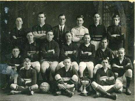 CTS 1925 Premiers Soccer Team - Photograph of Collingwood Technical School 1925 Premiers Soccer Team with Trophy cup - (Victorian Collections