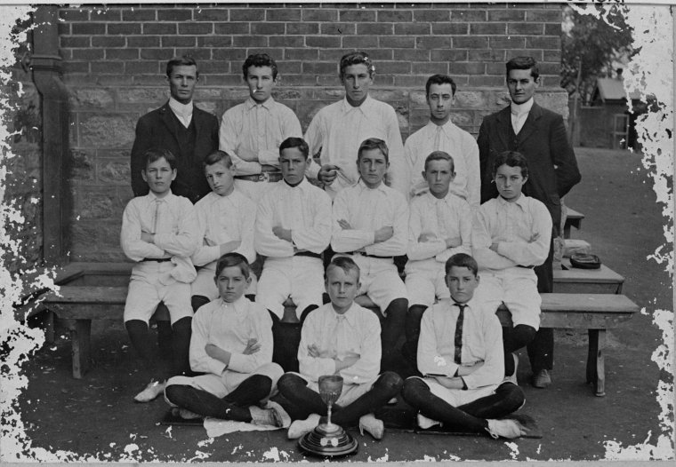 PERTH BOYS SCHOOL SOCCER TEAM - ca.1904.(State Library of WA)