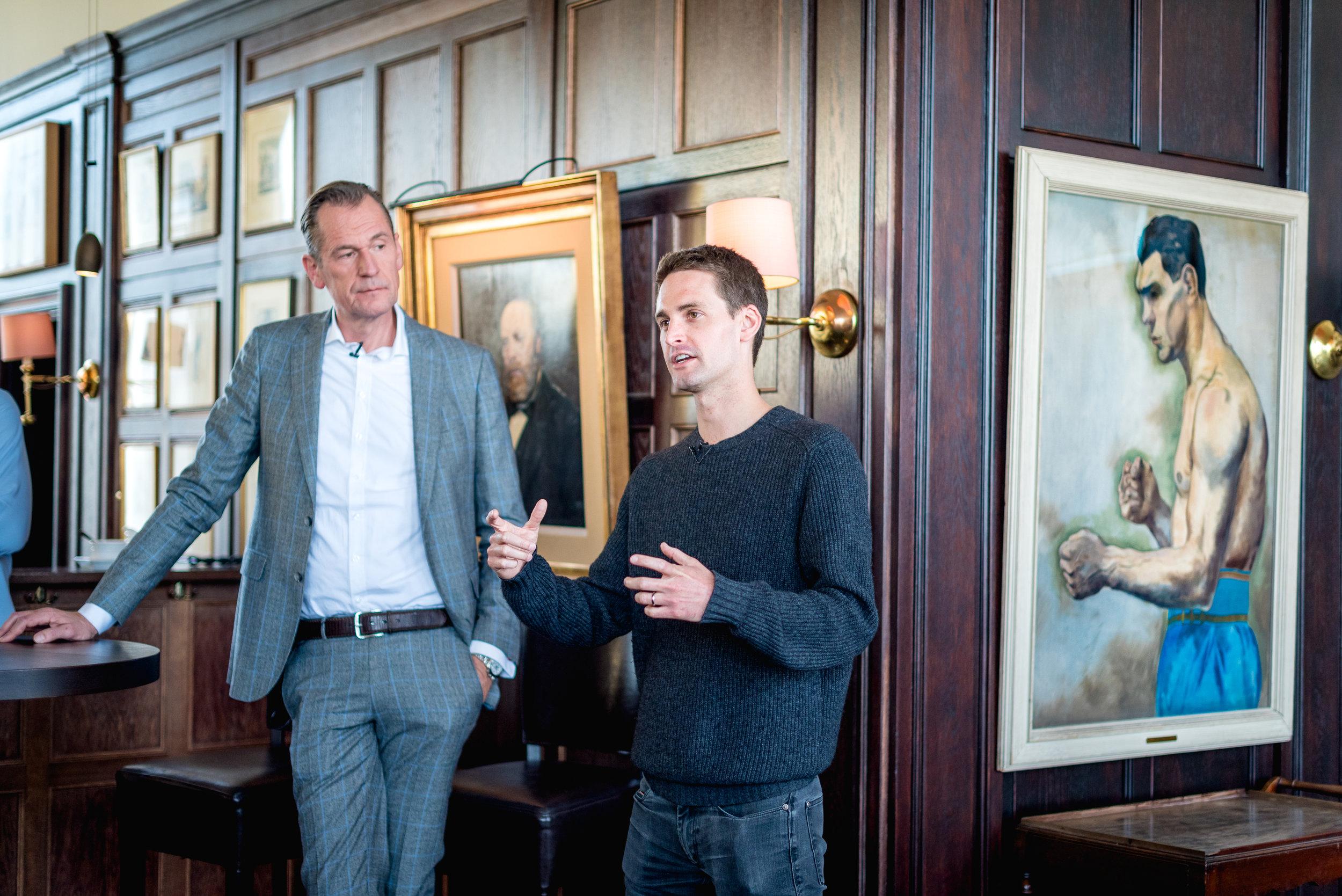 Dr Mathias Döpfner (CEO Axel Springer SE) and Evan Spiegel (CEO Snap Inc.) announces joint venture partnership.