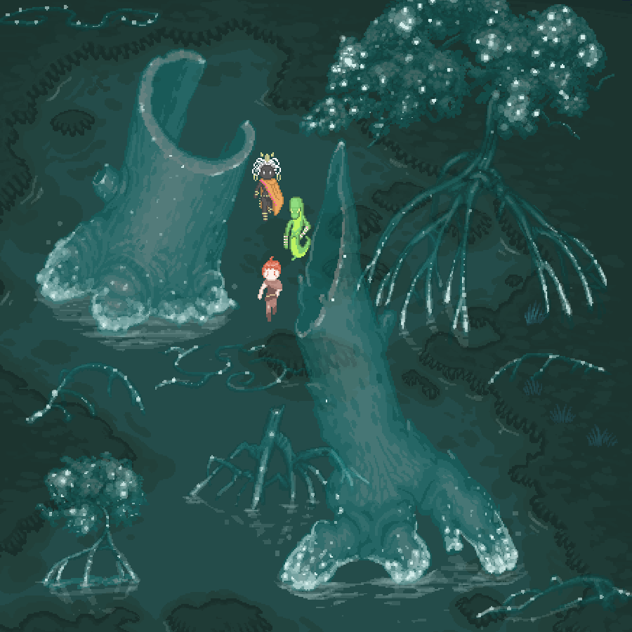 JOURNEY - The haunted swamp known as the Elderglades. A terrible tragedy occurred here hundreds of years ago, and spectral trees with glittering radioactive branches block your path. Proceed carefully, as even the slightest touch can ghost-lock you!