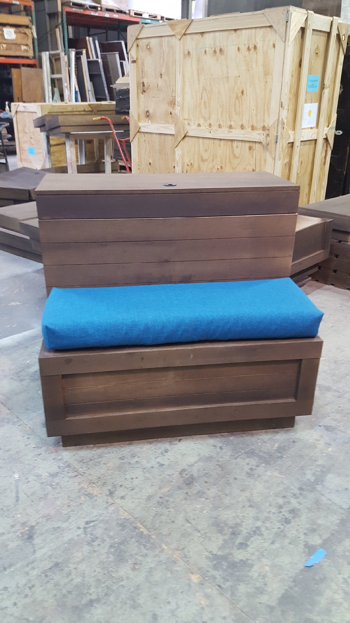 Simple blue cushions for booth display.