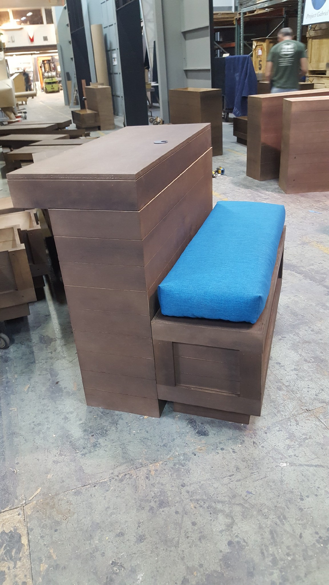 I made 20 cushions exactly alike to go on these custom made benches.