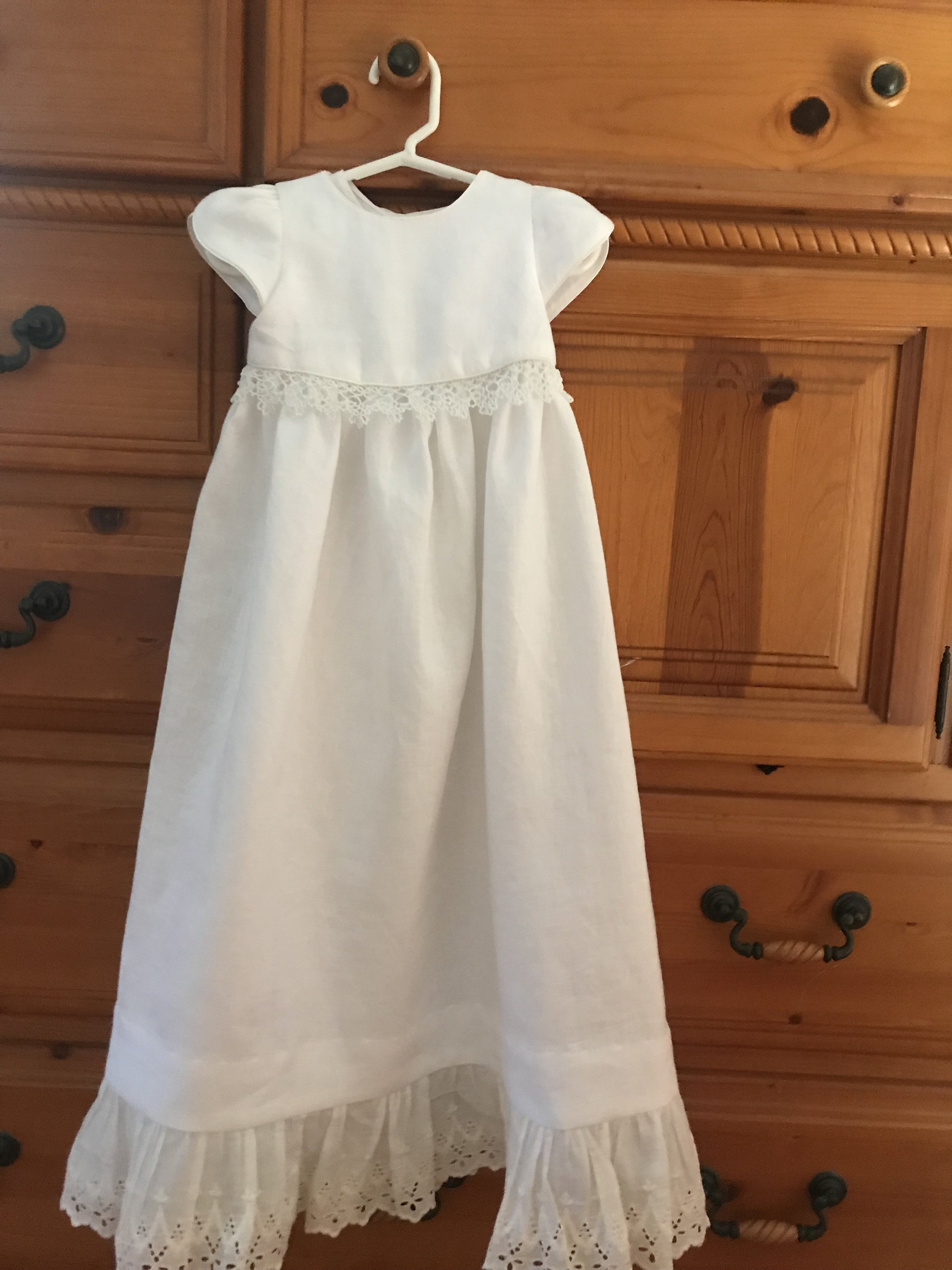 Christening gown made from heirloom pillowcases.