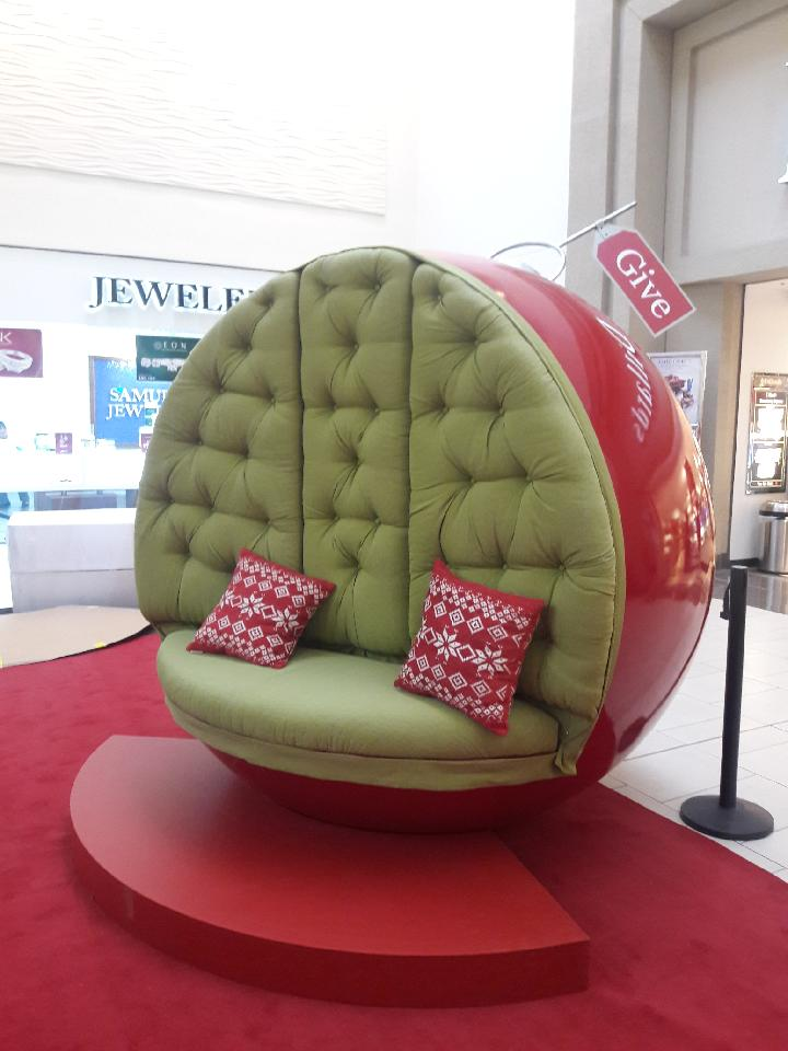 Upholstered Santa chair. - I was given the arms, the back and the seat and I had to upholster them all.