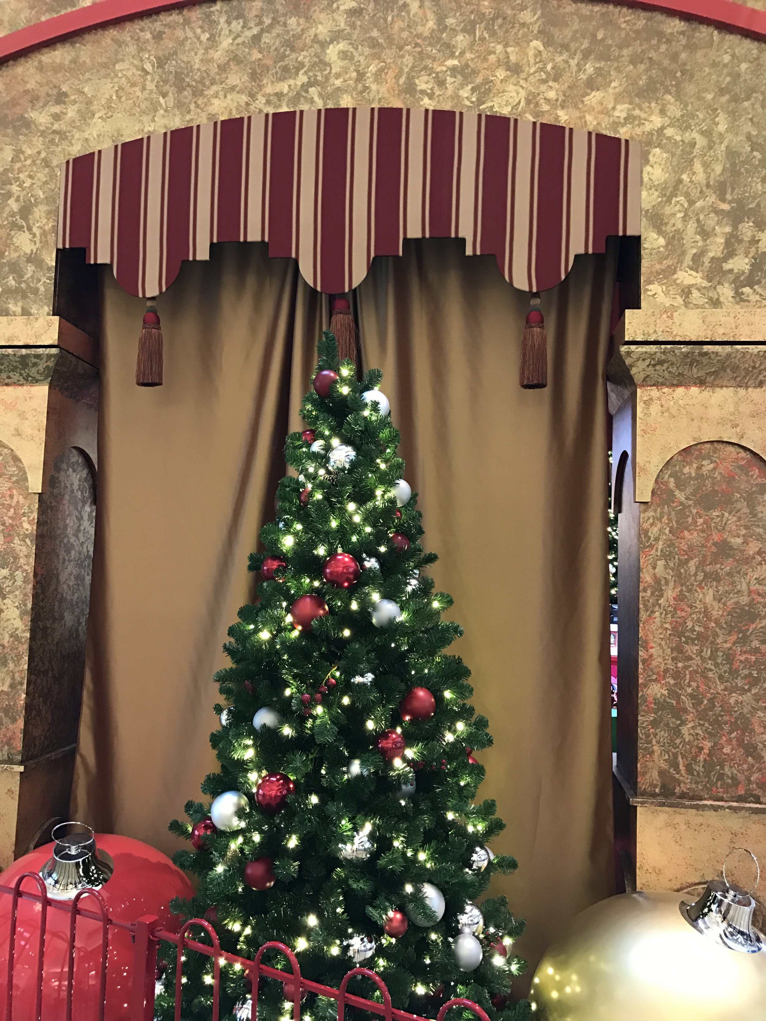 The Santa houses also had drapes and cornice boards, which I made.