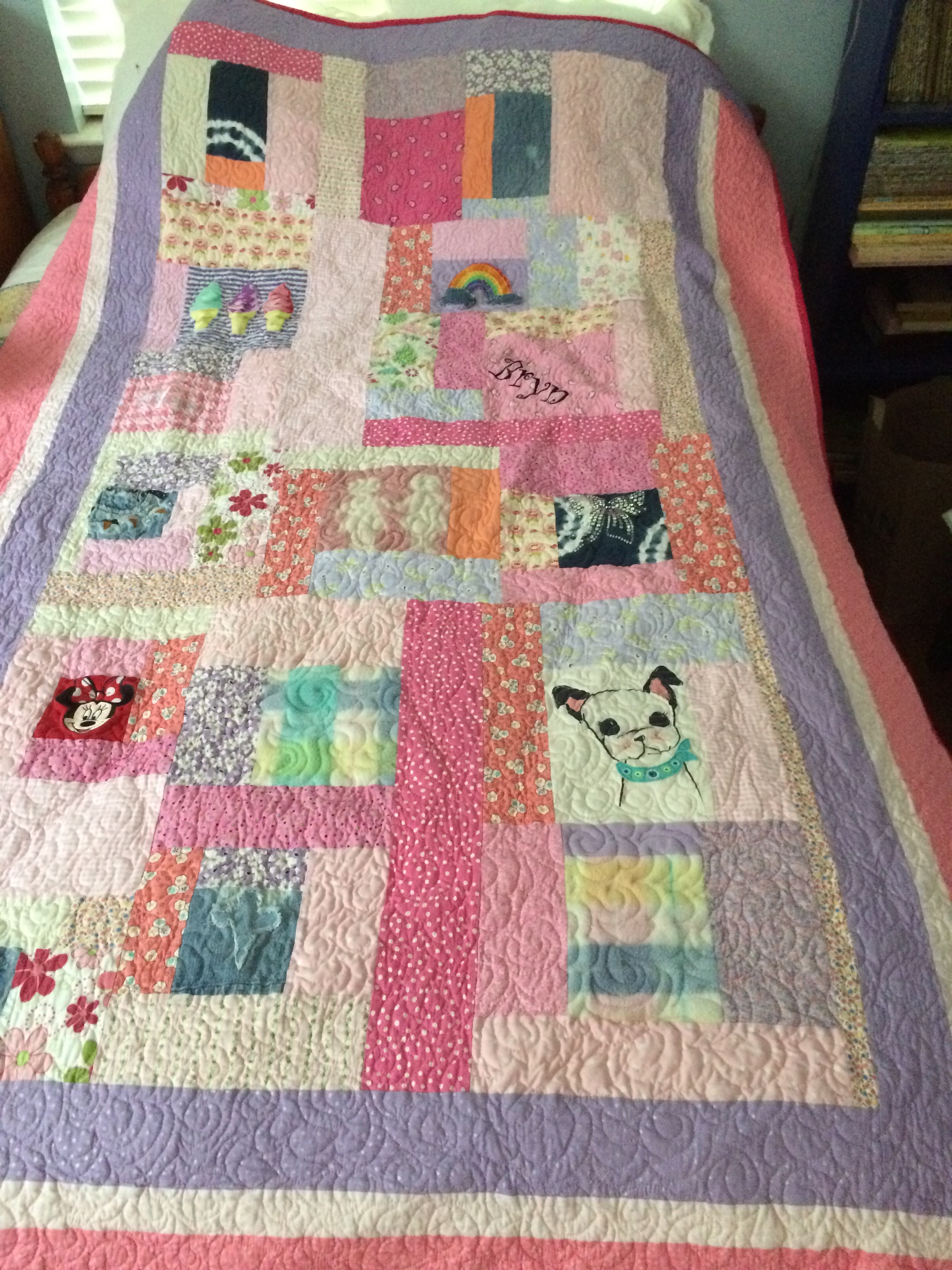 Quilt made for a reality TV star Bethenny Frankel's daughter Bryn.