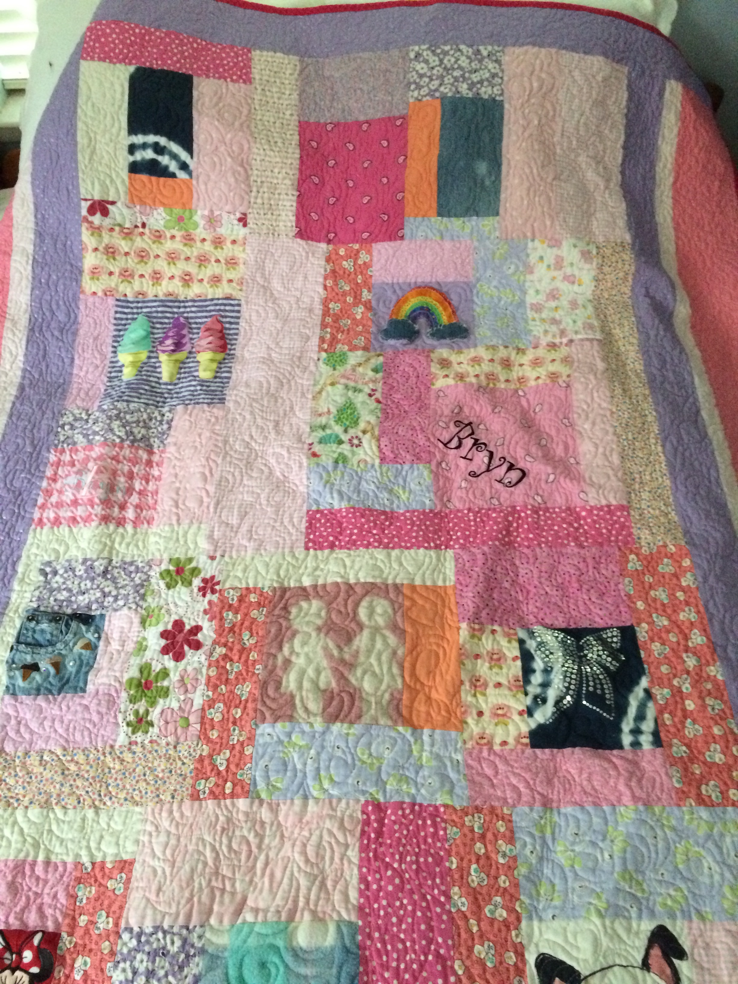 Custom quilt made for a reality TV star Bethenny Frankel's daughter Bryn.