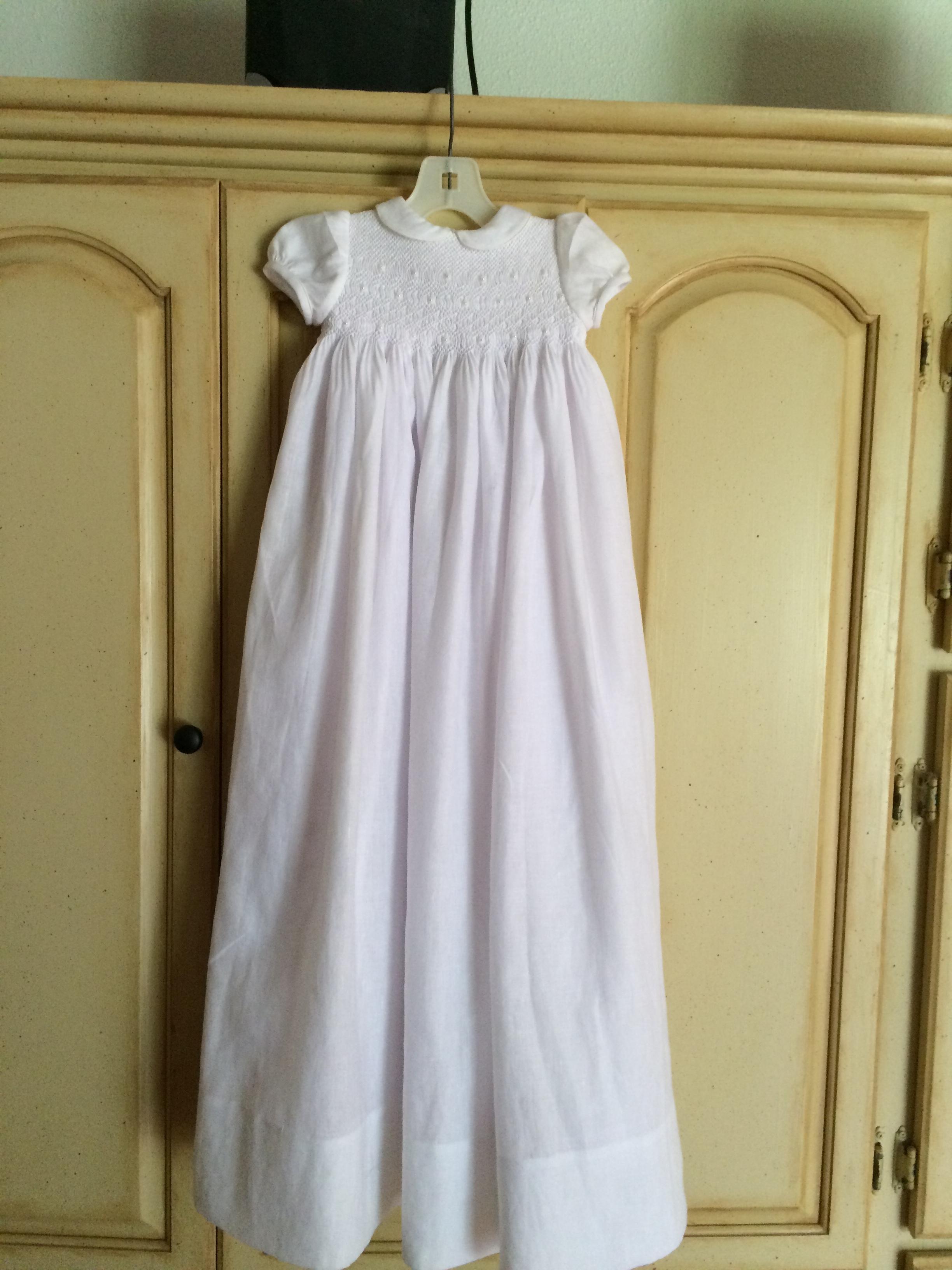 Smocked custom Christening gown.