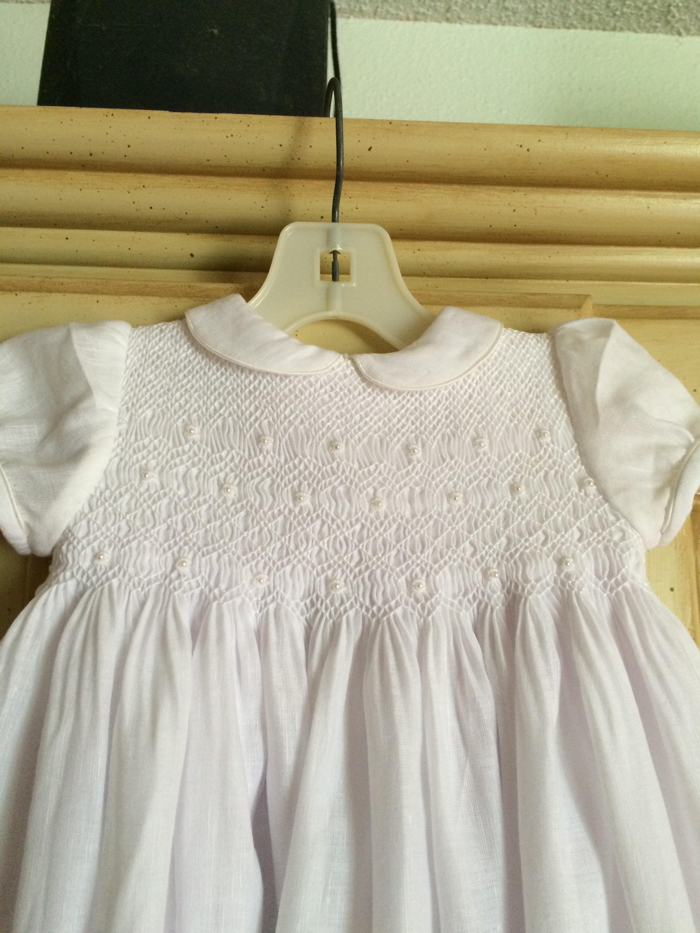 Smocked custom Christening gown. (detail)