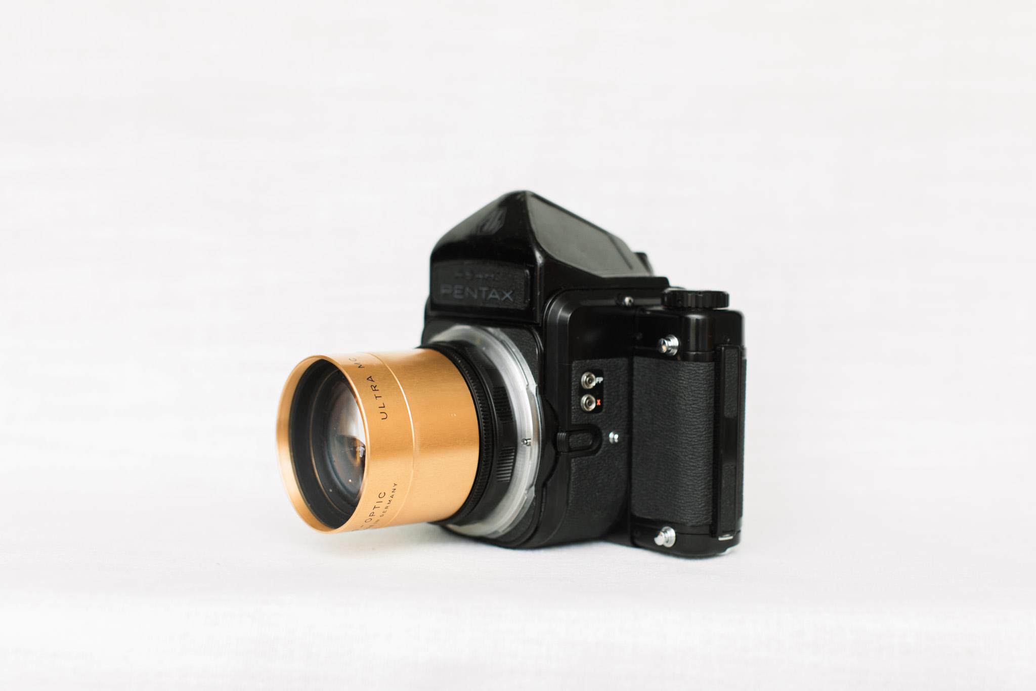 ISCO Ultra MC 110mm f/2 adapted to Pentax 67 film camera